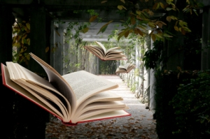 Books Flying Through Nature
